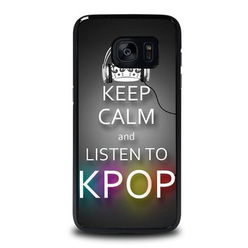 keep calm and listen kpop samsung galaxy s7 edge case cover  number 1