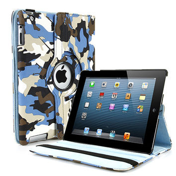 Military Camouflage PU Leather iPad Case with 360 Rotating Stand