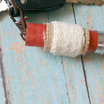 Shotgun Shell Fob / Lace and Burlap Key Fob / Red Shotgun Shell / Lace Bullet Keychain / Recycled Ammo Fob / Cowgirl Accessories