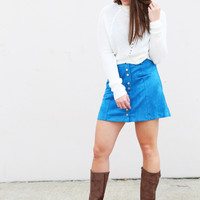 Blue For You Suede Skirt