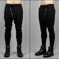Drop Crotch Detachable Front Cotton Jersey Pants Harem Pants / Casual Black Pants