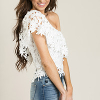 Sophie White One Shoulder Lace Top
