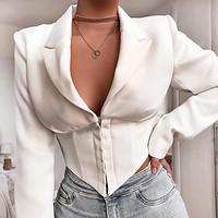 Autumn And Winter Fashion New Solid Color Long Sleeve Coat Women White