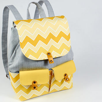 Yellow chevron backpack. Fabric rucksack from grey denim and cotton.