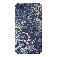 Navy Paisley Phone Case iPhone 4/4S Case from Zazzle.com
