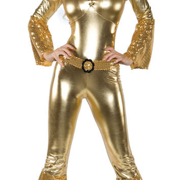 Gold Sequined Flared Leg Jumpsuit