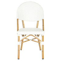 White Rivoli Stackable Side Chairs, Pair