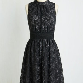 Mid-length Sleeveless A-line Windy City Dress in Black Lace