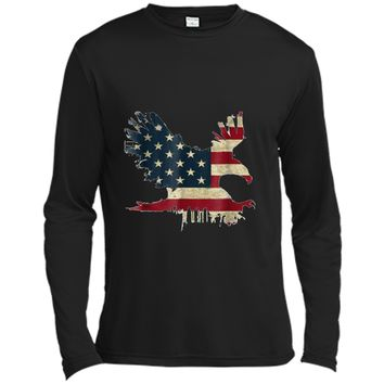 United States of America USA Flag FLYING EAGLE Long Sleeve Moisture Absorbing Shirt