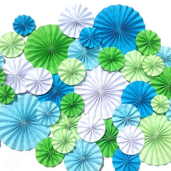 Sea Foam Greens and Blues Pinwheels Wedding Event Decoration