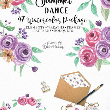 Watercolour Package Summer Dance 47 Pieces Blooms Wedding Flower Clipart - Hand Painted INSTANT DOWNLOAD Flowers PNGs Purple Leaves Digital