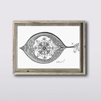 Black & White ORIGINAL Ink Drawing, Eye and hearts illustration, Contemporary Modern Wall decoration