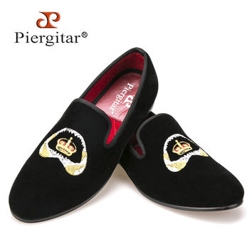 Special embroidery Men Velvet Shoes Men Smoking Slipper Men Flats