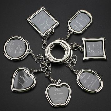 Creative Personality  Couple Family Photo Frame  Keychain Heart Keyring  Lover Gift Family Gift