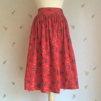 1980's Hieroglyphics Skirt / Egyptian Revival / Novelty Print / Red Cotton / Small / Vintage 80s