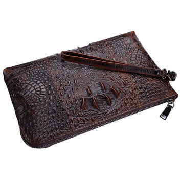Men Handbags 2016 Famous Brand Genuine Leather Bag High Quality Business Vintage Alligator Male Clutch Zipper Long Wallet purses