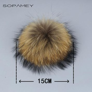 Real Natural Raccoon Fox Fur pompoms fur balls for knitted hat cap beanies Skullies and keychain and scarves real fur pom poms