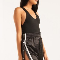 High Waist Metal Snap Fastening Basketball Shorts in Black White