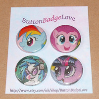 My Little Pony Comic Badges (set 1) - Set of 4 handmade 1-inch pinback button badges - geekery, Friendship is Magic, brony