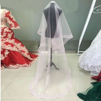 Tulle Pink Cathedral Wedding Veil for Bride Wedding Accessories Long Bridal Veils