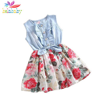 Belababy Baby Girl Dress Summer Children Sleeveless Christmas Girls Denim Floral Dresses Kids Princess Bowknot Flower Dress