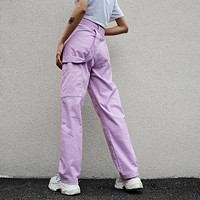Women Solid Color Fashion High Waist Back Strap Leisure Pants Trousers Multi-pocket Straight Pants