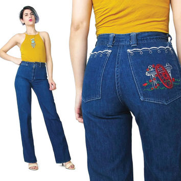 70s High Waist Jeans Dark Wash Country Western Jeans Floral Embroidered Jeans Straight Leg Soft Blue Jeans Vintage Womens 1970s Jeans (XS/S)
