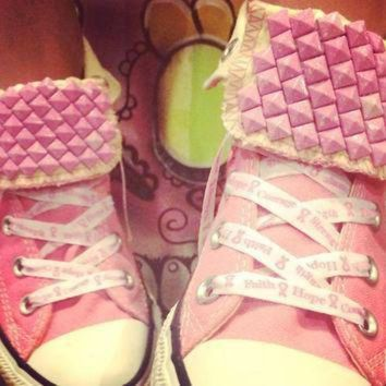 DCCK1IN breast cancer awareness custom studded pink converse all stars chuck taylors all si