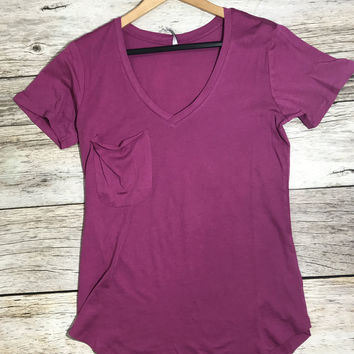 Z Supply Micro Modal Pocket Tee- Purple Shadow