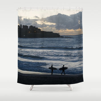 Morning Surfers on Bondi Beach Shower Curtain by Jen Grantham Photography