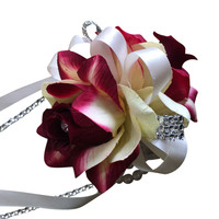 Wrist Corsage: Shades of Burgundy and Ivory Two Rose Corsage