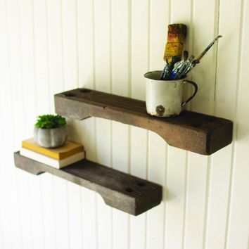 Repurposed Ship Ladder Wall Shelves (Set of 2)
