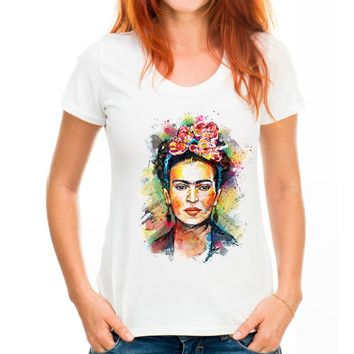 T-Sshirt Women Frida Kahlo Print T shirt Funny Personalized Short Sleeve Round Neck Sugar Skull Top Tees