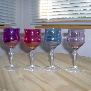 Set of 4 Vintage Colored Cordial Liqueur Glasses Liquor Table Vibrant Home Decor Barware