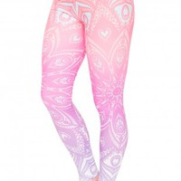 Mandala Orange Ombre Printing Leggings