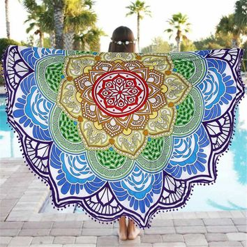 1pcs 135cm Bohemian Round beach towel Lotus Table cloth camping Yoga Mat Blanket Beach Towels Sleeping Pad mother's day gift