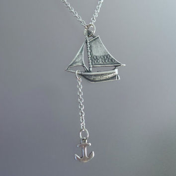 Sailboat Necklace by SBC, Ox Sterling Silver Plated Brass Sailboat, Antique Silver Chain, Sailboat Necklace, Anchor Ship Necklace, Sail Away