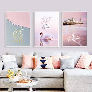 Nordic Flamingos Modern Home Decor Minimalist Romantic Pink  Sea  letter Landscape Paintings Unframed Wall Art Canvas Prints