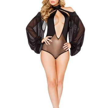 Roma USA Teddy Cutout Romper with Draped Sheer Sleeves