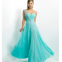 Blush 2014 Prom Dresses - Aqua Stone Beaded One Shoulder Strapless Sweetheart Prom Dress