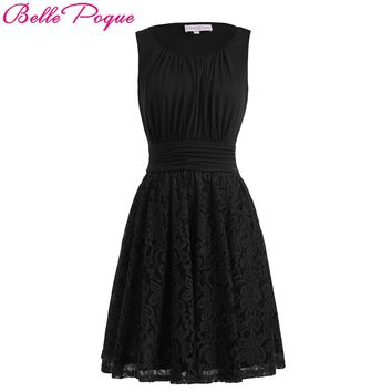 Belle Poque Womens Summer Dress 2017 Retro Vintage Sexy Sleeveless Pin up Rockabilly Elegant Ladies Party Black Lace Dresses