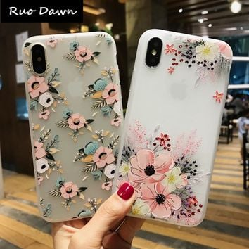 Ruo Dawn Fashion Flower TPU For iphone X 6 6S 7 8 Plus Scrub Phone Cases Soft Silicone Cartoon Lion Mobile Back Cover