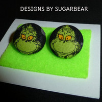 GRINCH EARRINGS BOUTIQUE HaND CRaFTED - Available in ReD or BLaCK- ADoRABLE FuN SToCKING STuFFER GRaB BaG GiFT - UniQUE Designs by Sugarbear