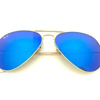 New Ray-Ban Aviator RB3025 112/17 58mm Matte Matte Gold Frame, Blue Flash Lens