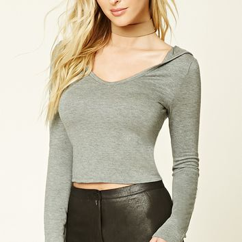 Heathered Knit Hoodie Top