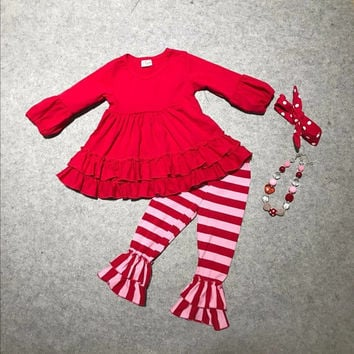 Valentine's day baby girls Spring outfit suit red striped love heart top kids cotton ruffles clothes with matching accessories