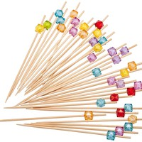 PuTwo 9259 100 Count Party Frilled Toothpicks Sandwich Cocktail Appetizer Cocktail Picks Cocktail Sticks, Multicolor