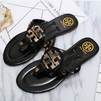 Tory Burch Stylish Ladies Leisure Sandal Slipper Shoes Black I