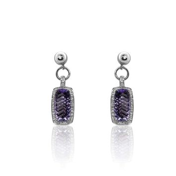 Luxinelle White Gold Amethyst Diamond Drop Earrings -14K