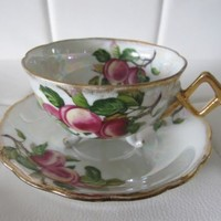 Estate Vintage Lusterware Tea Cup & Saucer Set Iridescent Teacup Floral Peaches